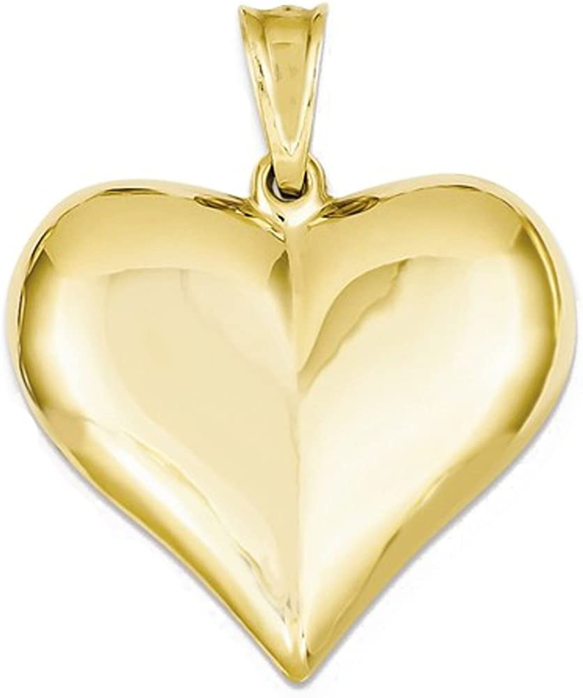 14K White Gold Puffed Heart Charm Pendant MSRP $81