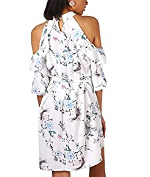 4868-CRM-ML: Oriental Print Cold Shoulder Dress