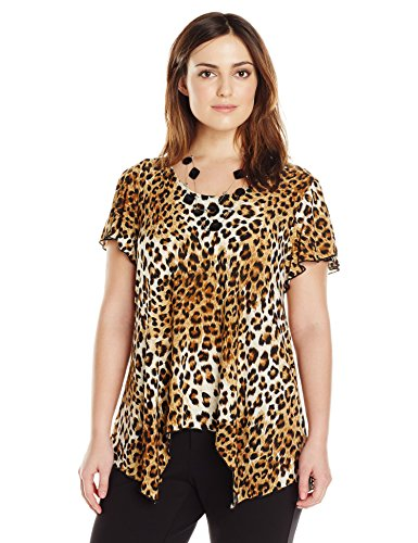 Star Vixen Women's Plus-Size Sharkbite Top with Clear Necklace, Brown Leopard, 3X