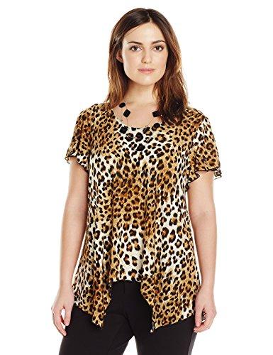 Star Vixen Women's Plus-Size Sharkbite Top with Clear Necklace, Brown Leopard, 1X