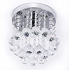 ZEEFO Crystal Chandeliers Light, Mini Style Modern Décor Flush Mount Fixture With K9 Crystal Ceiling Lamp For Hallway, Bar, Kitchen, Dining Room, Kids Room