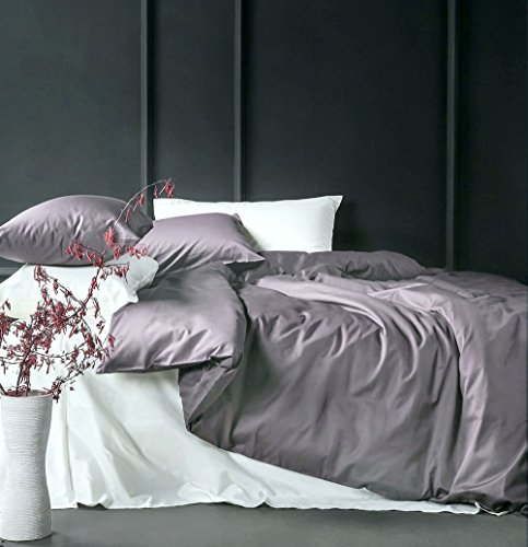 Solid Color Egyptian Cotton Duvet Cover Luxury Bedding Set High Thread Count Long Staple Sateen Weave Silky Soft Breathable Pima Quality Bed Linen (Queen, Lilac Gray)