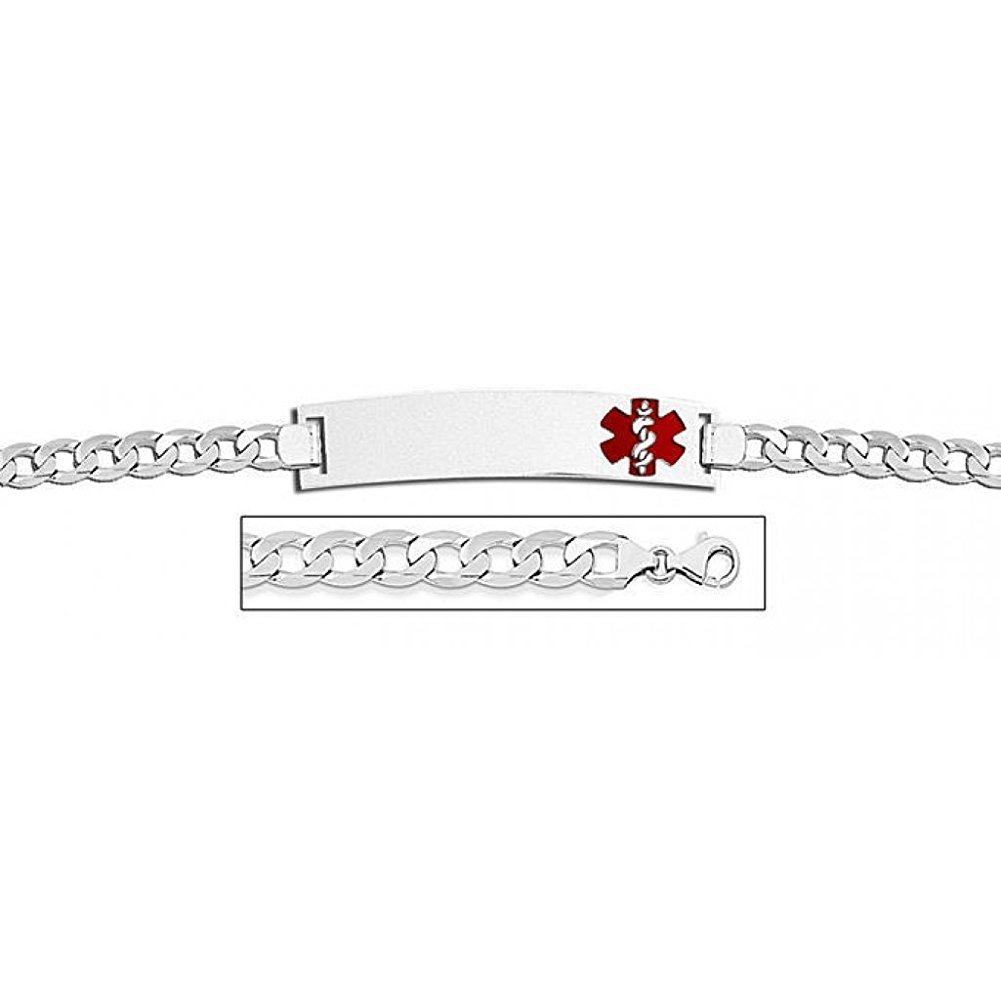 14K White Gold Medical ID Bracelet W/Curb Chain with Enamel - 8-1/2 WITH ENGRAVING