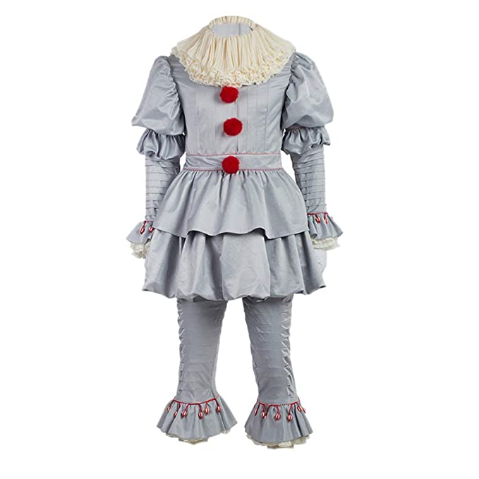 Scary Clown Costume Deluxe Movie Cosplay Halloween Costume Outfit Full Set  Adults Kids