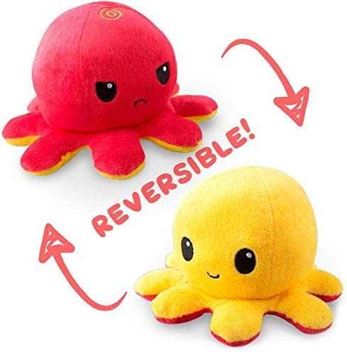 The Original Reversible Octopus Plushie | TeeTurtle's Patented Design | Red and Yellow | Show your mood without saying a word!