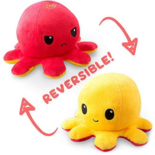 TeeTurtle Reversible Octopus Mini Plush - Stuffed Animal Toy, Red/Yellow ()