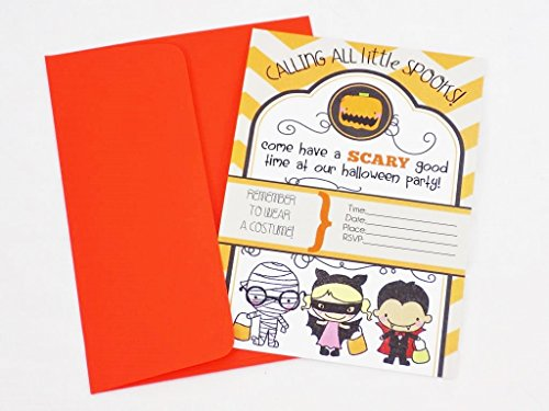 [Halloween Party Invitations 'Calling All Little Spooks' with Orange Envelopes] (Silly Halloween Costume Ideas)