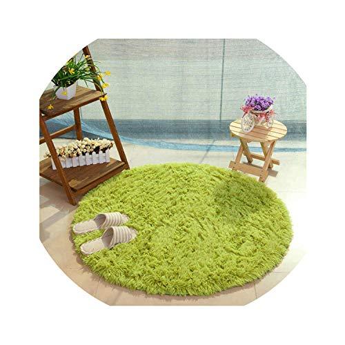 Fluffy Round Rug Carpets for Living Room Decor Faux Fur Carpet Kids Room Long Plush Rugs for Bedroom Shaggy Area Rug Modern Mat,Green,Diameter 100cm