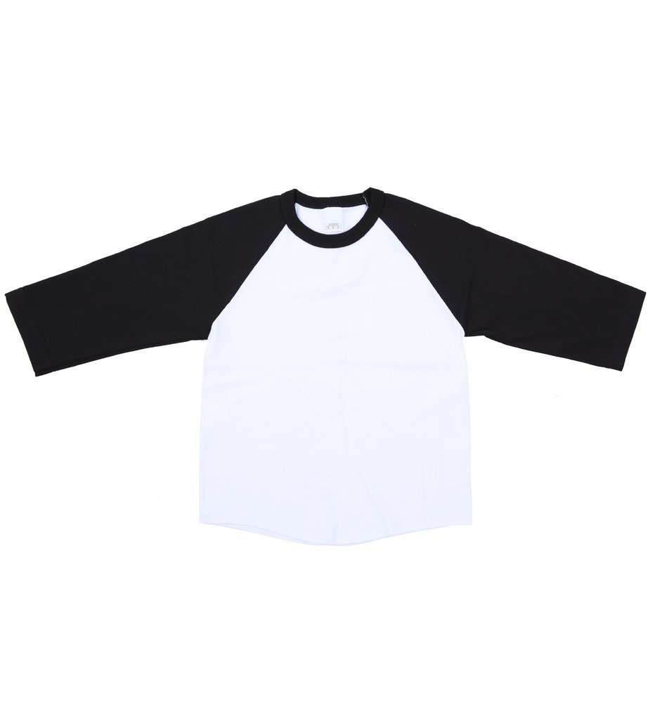 Ola Mari Unisex Kids Raglan Baseball T Shirt Top, Large, White/Black