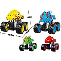 FunBlast High Speed Friction Powered Dinosaur Car Toy - Push and Go Crawling Toy | Toy Car for Kids and Children. (Random Color Dispatch)