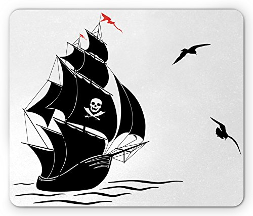 Pirate Mouse Pad by Lunarable, Silhouette of Old Sail Pirate Ship Flying Seagulls Ocean Waves Jolly Roger, Standard Size Rectangle Non-Slip Rubber Mousepad, Black White - Roger Flying Jolly