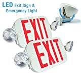 2x LED Exit Sign & Emergency Light – High Output - RED Compact Combo UL924