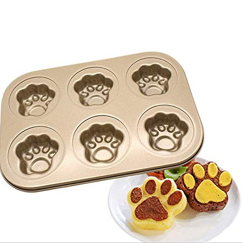 (Fyuan 6 Cavity Carbon Steel Gold Cat Claw Candy Mold Trays, Bakeware Pans Baking Tray Cake Bread Baking- Not Sticky Cake Decoration Mould for Making cartoon cakes)