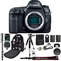 "Canon EOS 5D Mark IV DSLR Camera Body + 64GB SDXC Card + Pro 72"" Monopod + SLR Backpack Bag + 50' Tripod + SD Card Reader & Premium Accessory Bundle - International Version"