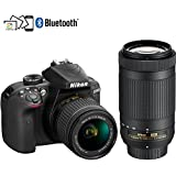 Nikon D3400 24.2MP DSLR Camera with AF-P 18-55 VR and 70-300m Lenses (1573B) - (Certified Refurbished)