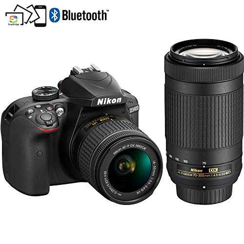 Nikon D3400 24.2MP DSLR Camera with AF-P 18-55 VR and 70-300m Lenses (1573B) – (Certified Refurbished)