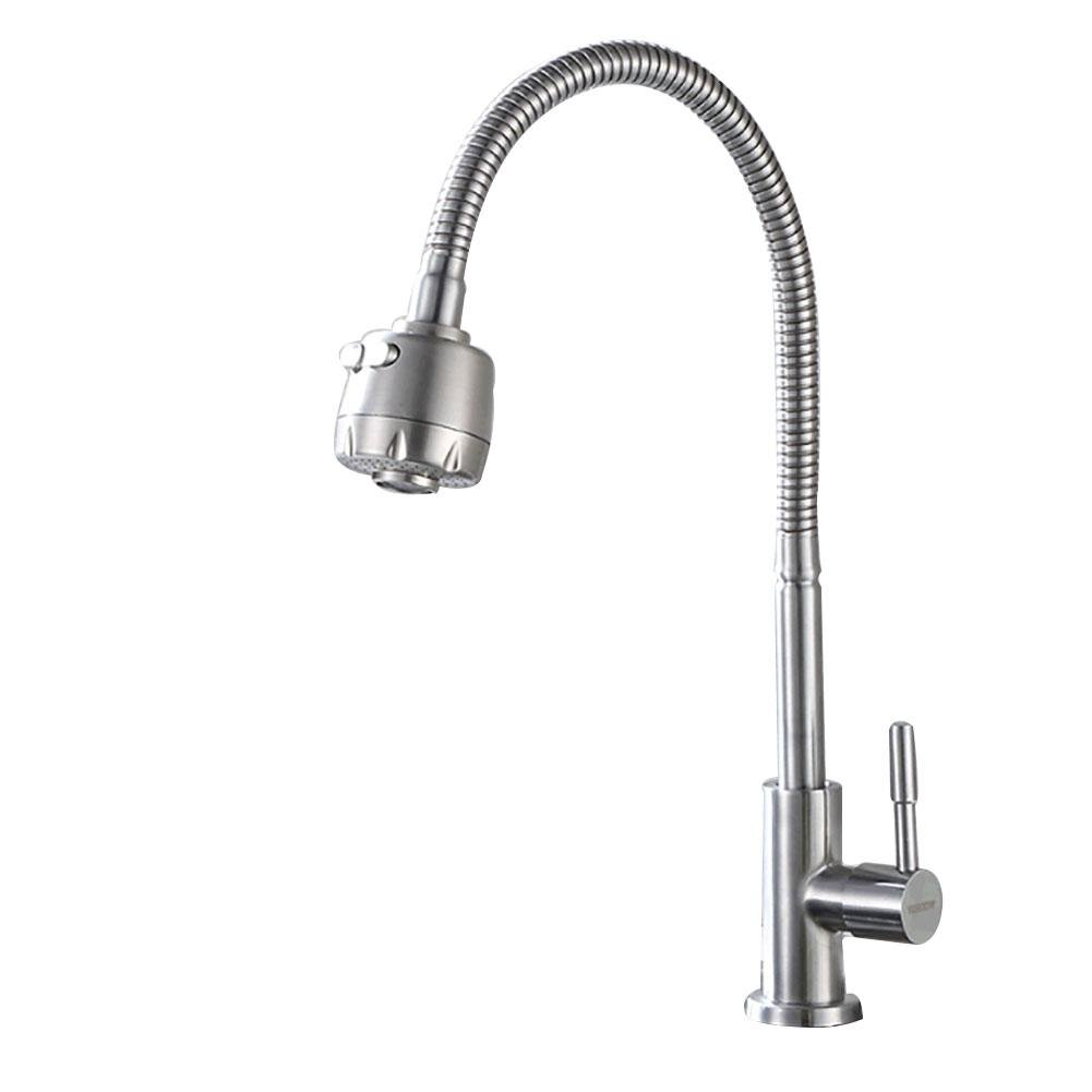 DDY Single cold water faucet 360 Degree Rotation Spout Tube stainless steel Kitchen Sink mixer Tap