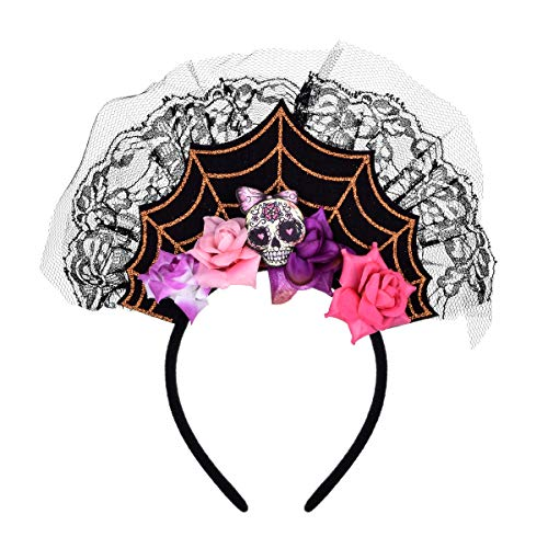 Love Sweety Halloween Spider Skull Headband Frida Kahlo Day of The Dead Costume Headpiece (Skull -