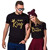 Epic Tees I'm Her King I'm His Queen Couples Matching T-Shirts (Black)-2XL/L