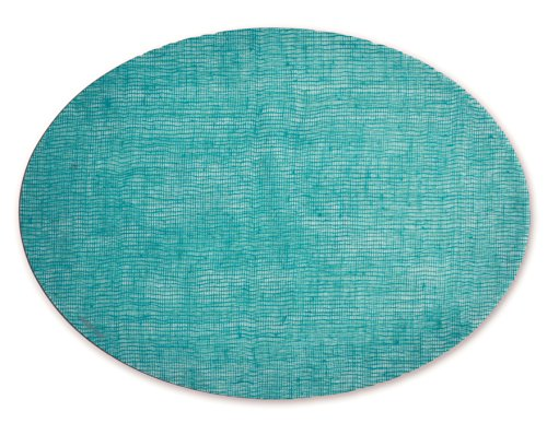 modern-twist Linen Pattern, Sea Foam Color Silicone Oval Placemats for Dining and Decoration, Modern design Non-slip Heat Resistant ()