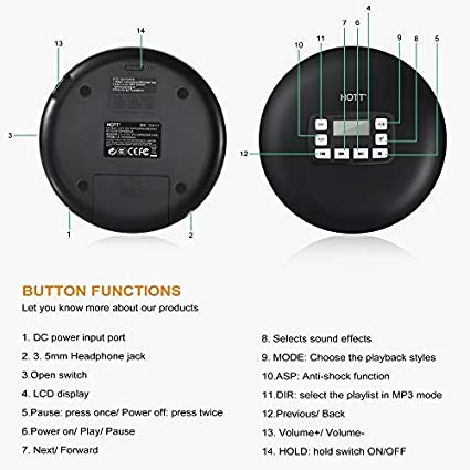 Anti-Skip//Shockproof Protection Compact CD Music Personal CD Player with Headphone Portable CD Player with Bluetooth