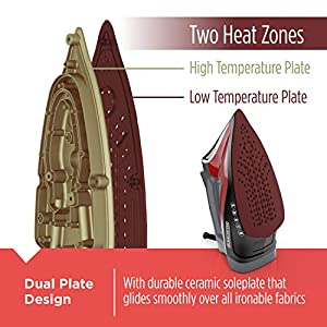 BLACK+DECKER D3500 Advanced Temperature Iron with Variable Steam Controls and One Heat Setting for All Fabric Types, Nonstick Ceramic Soleplate, Red/Black