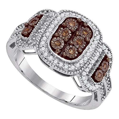(Solid 10k White Gold Brown Diamond Cocktail Ring Fashion Band Chocolate Cluster Milgrain Fancy 1/3 ctw)