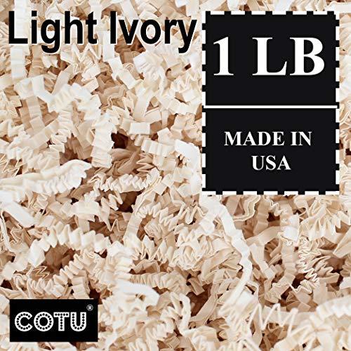 1 LB Light Ivory Crinkle Shred Gift Basket Shred Crinkle Paper Filler Bedding by COTU (16 oz)