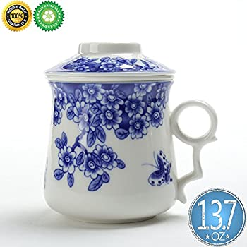 Japanese Tea-Mug(13.7oz)with Strainer and Lid,TEANAGOO-Neptune,Portable Ornament infuser,Infused Tea-Cup Set,Brewing Filter, Large Steeper Men Mom Home Decor, Dishwasher Safe Lead-free,Kitchen Maker