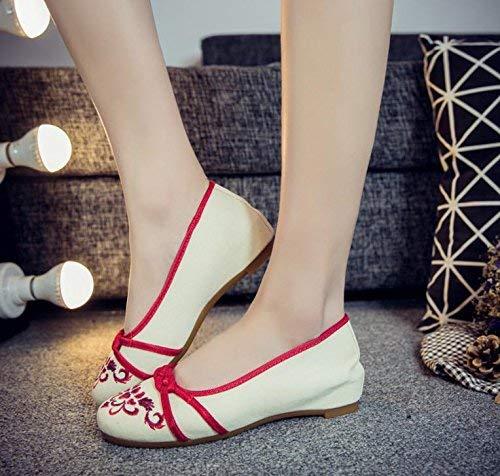 Moontang Bestickte Schuhe Sehnensohle Ethno-Stil weibliche Stoffschuhe Mode rot bequem lässig rot Mode 39 (Farbe   - Größe   -) 92b020