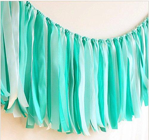AZOWA Assembled Ribbon Tassel Garland Teal Blue Handmade Fabric Banner Fringe Hanging Decor for Wedding Nursery Photo Props Bridal Shower Party Decorations (40'' (L) X 14'' (H), Blue, White)