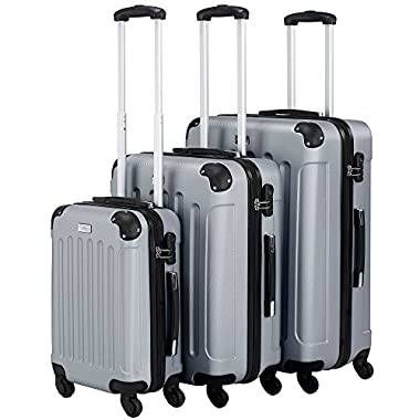 VonHaus 3-Piece Luggage Set made from ABS - Large, Medium and Carry On Suitcase with Rotating Wheels, Built-in Lock and Telescopic Handle - Silver