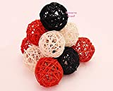 Thailand's Gifts : Small Orange, Black, White Rattan Ball, Wicker Balls, DIY Vase And Bowl Filler Ornament, Decorative spheres balls, Perfect For Decoration And Party 2.5 inch, 12 Pcs