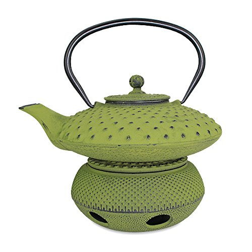 Teapot Trivet Iron Cast Warmer + Japanese Antique 24 Fl Oz Green Dot Hobnail Chinese Cast Iron Teapot Tetsubin with Infuser ~ We Pay Your Sales Tax ()