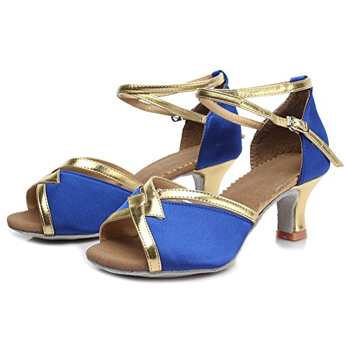 HIPPOSEUS Zapatos de la danza de salón de baile/Zapatos de baile/Zapatos latinos de el satén mujeres,Modelo ES225 5CM Azul