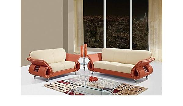 Amazon.com: Global Furniture U559 Beige & Orange Bonded Leather Sofa ...