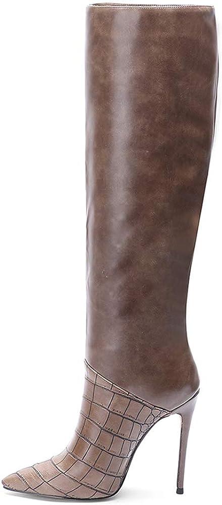 Lydee Donne Moda Stivali Ginocchio Stiletto Heels Marrone Stone Pattern