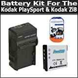 Battery And Charger Kit For Kodak PlaySport (Zx3) Kodak Zi8 Pocket Video Camera NEWEST MODEL Includes Extended Replacement KLIC-7004 (1100mAH) Battery + Ac/Dc Rapid Travel Charger + Screen Protectors