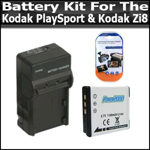 (Battery and Charger Kit for Kodak PlaySport (Zx3) Kodak Zi8 Pocket Video Camera Newest Model Includes Extended Replacement KLIC-7004 (1100mAH) Battery + Ac/Dc Rapid Travel Charger + Screen Protectors)