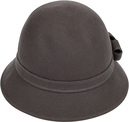 Sakkas 20M Molly Vintage Style Wool Cloche Hat - Taupe Grey - One Size