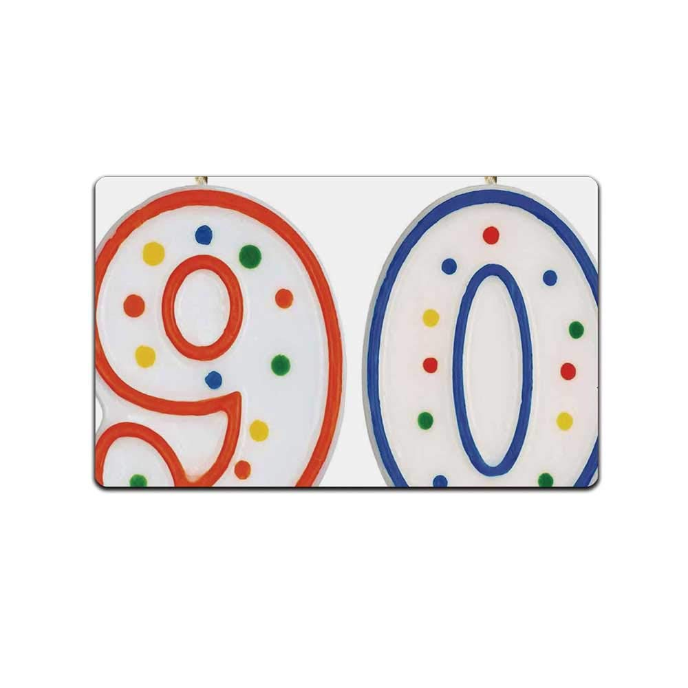 YOLIYANA 90th Birthday Decorations Various Doormat,Party Preparations Candles Number Ninety in Red and Blue for Living Room,31'' Lx19 W