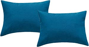 4TH Emotion Outdoor Waterproof Lumbar Pillow Covers Garden Cushion Case for Patio Couch Sofa Polyester Cotton Home Decoration Pack of 2, 12 X 20 Inches Dark Blue