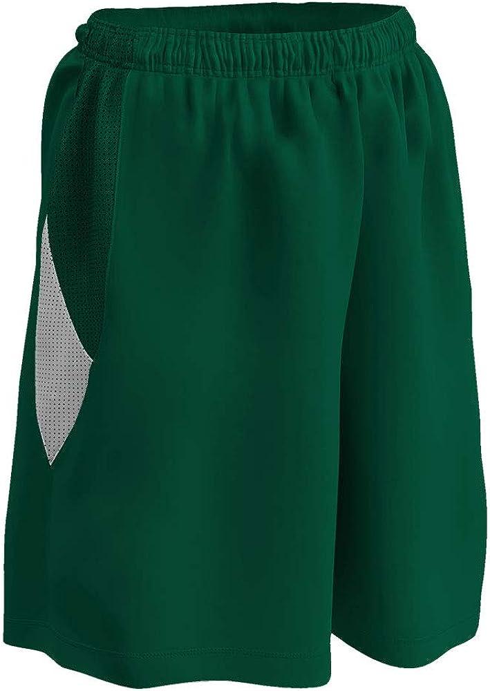 Girls Large Forest Green CHAMPRO Post Up Reversible Polyester Basketball Short White