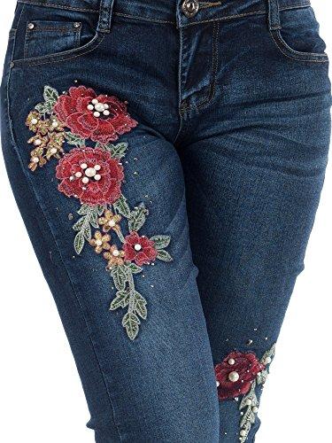BOUTIK FASHION brodes taille fleurs 42 perles sexy 36 38 femme 40 34 bleu jeans avec et rAqdr