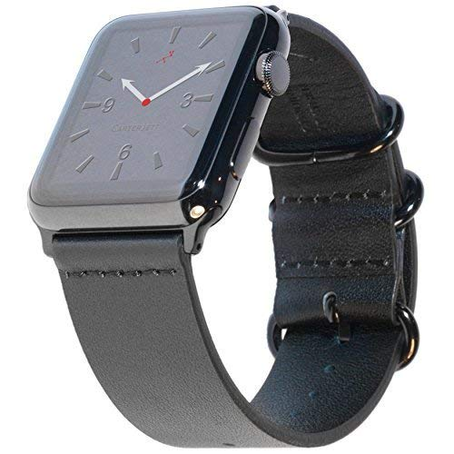 Carterjett Compatible Apple Watch Band 42mm 44mm Black Leather iWatch Band Replacement Strap, Steel NATO Loop Buckle Compatible Apple Watch Series 4 3 2 1 Hermes Edition Sport (42 44 ()