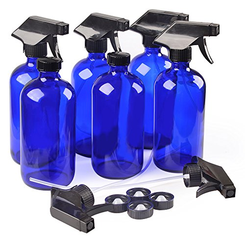 6 Blue Glass Spray Bottle Bottles with Black Trigger Sprayer.16 oz Refillable Bottle for Essential Oils,Cleaning Products,Aromatherapy,Organic Beauty Products.Stream and Spray Settings Available