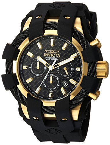 Invicta Men's Bolt Stainless Steel Quartz Watch with Silicone Strap, Black, 26 (Model: 23861)
