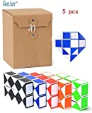 "Genius Cells 17"" Big Rubik's Snake Twist Collection of 5 Magic Cube 24 Wedges Toys Rubiks Snake Puzzle Ruler Set (5 pcs)."
