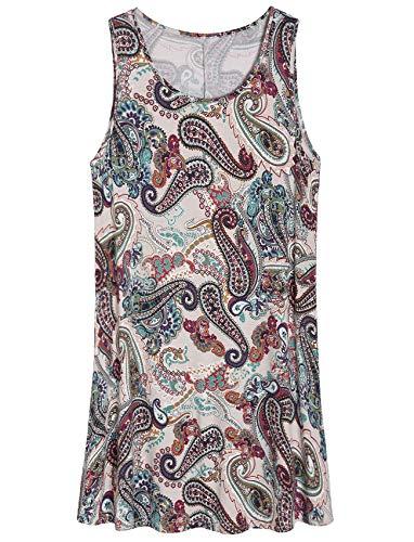 Latuza Women's Sleeveless Nightgown Lounge Dress Sleep Tank Dress L Ancient Paisley