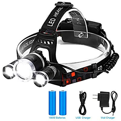 Led Headlamp Rechargeable, Binwo Brightest Head Lamp, 4 Modes Waterproof Head Light with 18 Month Warranty